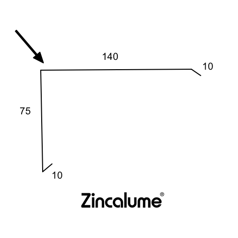 Barge Capping Roof Flashing - (10x75x140x10) ZINCALUME® logo