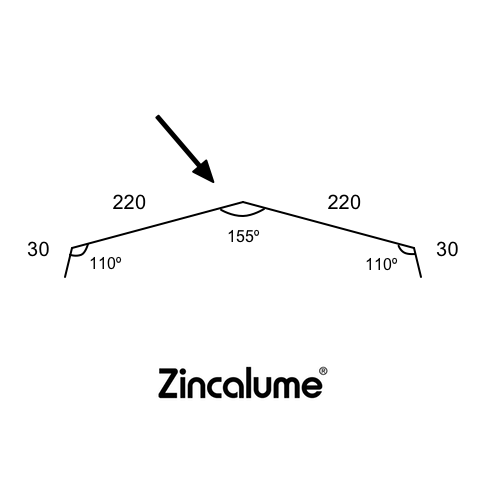 Ridge Capping Trimdek - 220mm (30x220x220x30 - 155deg) ZINCALUME® logo